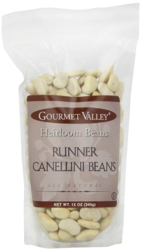 Gourmet Valley Heirloom Beans Runner Canellini Beans, 12-Ounce Pouches (Pack of 6)