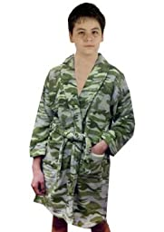 Aegean Apparel Camouflage Microterry Plush Robe, Green Camouflage, M (8) US