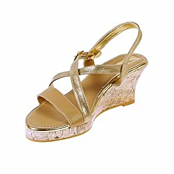 Tic Tac Toe Womens Gold Faux Leather Wedges (Bgw012_6_Gold) - 6 Uk
