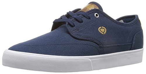 C1RCA Men's Essential Skateboarding Shoe, Navy/Gold, 9.5 M US