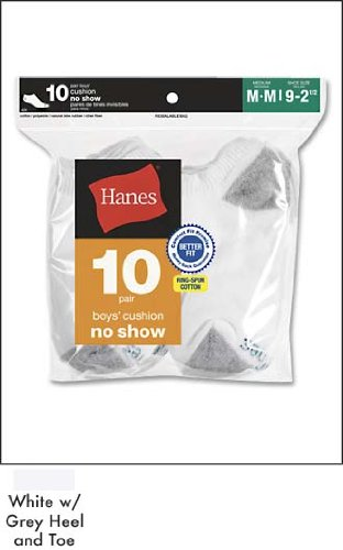 10-Pack Hanes Boys Red Label Cushion No Show 10 pr 424/10, White w/ Grey Heel and Toe, Large