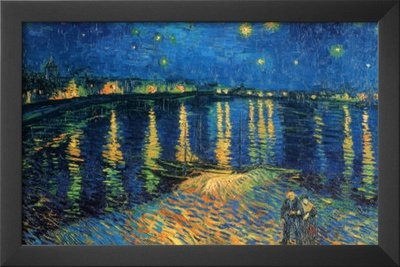 Professionally Framed Vincent Van Gogh Starry Night Over The Rhone Art Print Poster - 11X17 With Solid Black Wood Frame