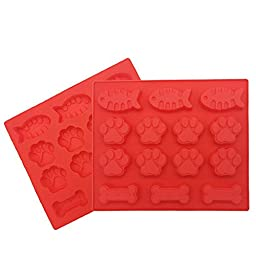 JamHoo Dog Bones Baking Molds - Dog Paws Baking Molds - Fish Baking Molds - Puppy Pets Print Nonstick Silicone Cake Pan Ice Trays - 14 Cavity - Set of 2 - Red