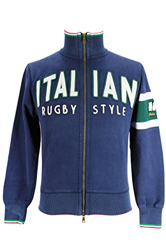 Italian Rugby Style Mens Long Sleeve Crew Sweater Size L US Regular Blue Cotton (Italian Rugby compare prices)