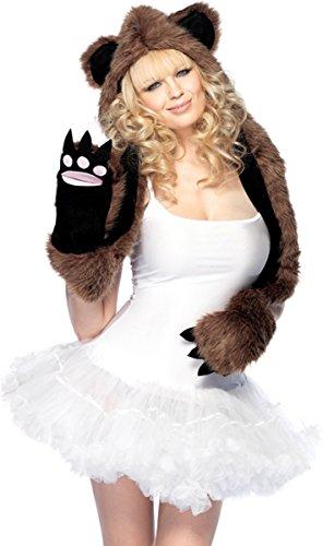 Leg Avenue Women's Bear Hood With Paw Scarf One Size (Bear Hood With Paw Scarf)
