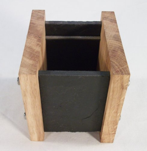Handmade Natural Slate and Solid Oak Pen Pot / Desk Tidy - Modern Contemporary Style (wood / wooden pencil holder container organizer)