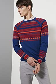 Live Textured Jacquard Pattern Crew Neck Sweater