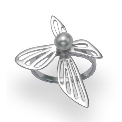 Anello in argento con perla d'acqua dolce, misura 58, Q in buona qualità, spediti in confezione regalo argento, di prima classe.
