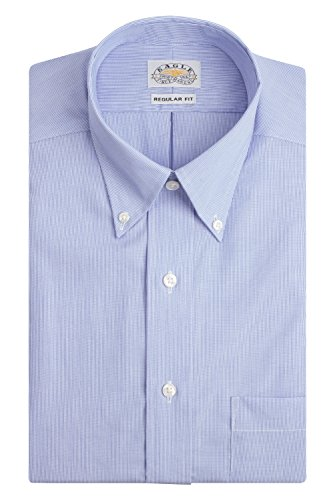 Eagle Men's Non Iron Regular Fit Stripe Button Down Collar Dress Shirt, Blue Crystal, 17.5