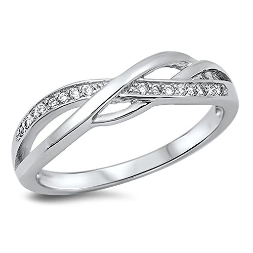 Infinity Knot White CZ Promise Ring New .925 Sterling Silver Band Size 8 (RNG14507-8)
