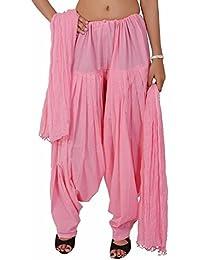 Fashion Store Women Cotton Solid Baby Pink Patiala Salwar Dupatta Set Free Size