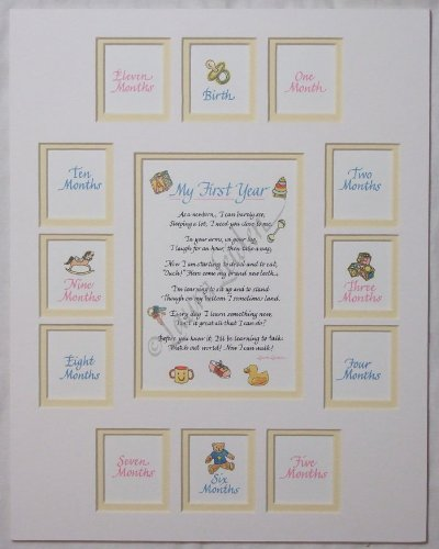 Baby's First Year Picture Photo Mat (White/Yellow) - no Frame
