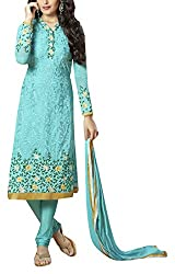 Sara Fashion Women's Georgette Unstitched Dress Material (Turquoise)