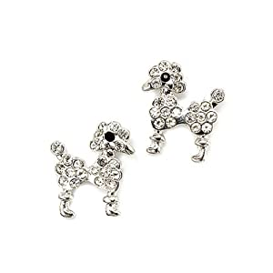 Dog Poodle Animal Crystal Rhinestone Fashion Small Stud Earrings Silver Clear