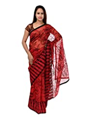 A1 Fashion Women Brasso & Net Red Saree With Blouse Piece - B00VUS0CDQ