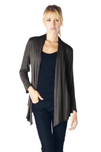 82 Days Women'S Rayon Span Super Comfortable Basic Cardigan - Dark Gray S