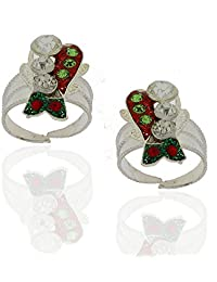 Anuradha Art Multi Colored Silver Toe Rings For Women - B01BHWF4AU
