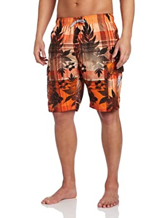 U.S. Polo Assn. Men's Plaid Hibiscus Short, Bright Orange, XX-Large