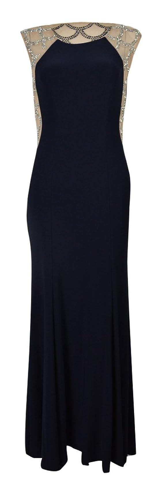Xscape Navy Nude Beaded Sleeveless Women's Maxi Dress