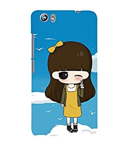 99Sublimation Winking Girl with Yellow ribbon 3D Hard Polycarbonate Designer Back Case Cover for Micromax Canvas Fire 4 A107