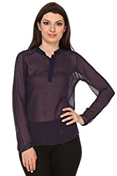 Oyshi Women's Embellished Top (PE1010S, Purple, Small)