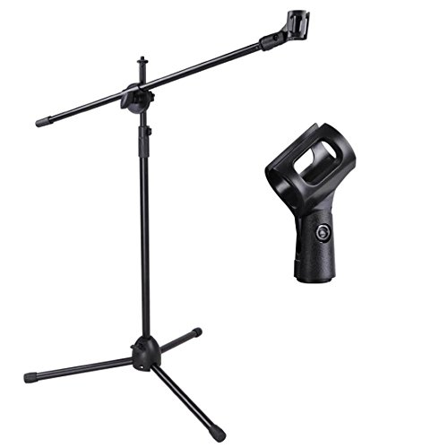 Singing Music Band Telescoping Microphone Stand Mic Clip 360 degree Singer Stage Studio Tripod with Adjustable Legs (Peak Music Stand For Ipad compare prices)