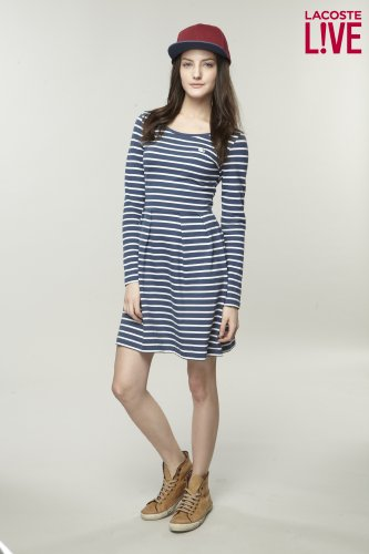 L!VE Long Sleeve Stripe Scoopneck Dress