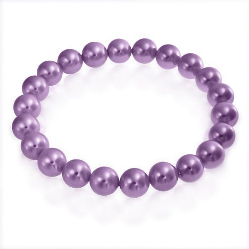 Bling Jewelry Round Purple South Sea Shell Stretch Pearl Bracelet 8mm
