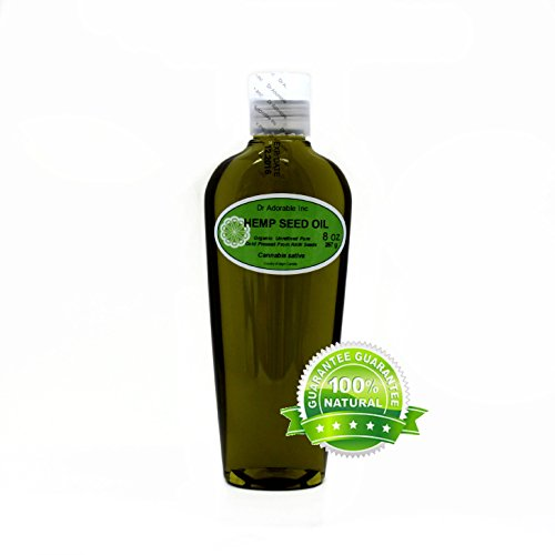 Hemp Seed Oil Pure Organic Cold Pressed by Dr.Adorable 8 oz