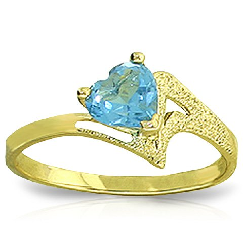 14k Yellow Gold Heart-shaped Natural Blue Topaz Ring - Size 7.0