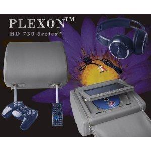 "Plexontm - Headrest 7"" Lcd Car Monitors With Region Free Dvd Player Usb Sd Inc. Wireless Headhones And 32 Bit Games (Gray, Pair)"