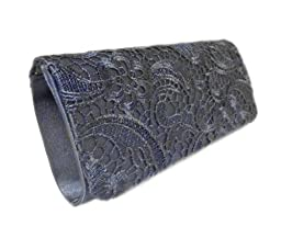 Edelweiss Vintage Lace Front Party Clutch 10-inch with Strap (Navy Blue)