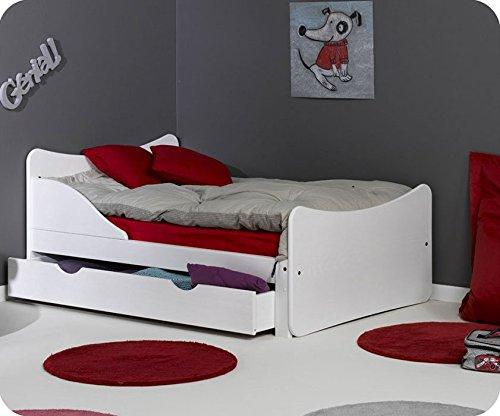 Paket Mitwachsendes Kinderbett Ivoo weiß mit Matratze und Schublade online kaufen