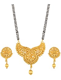 I Jewels Traditional Ethnic One Gram Gold Plated Mangalsutra Jewellery Set With Earrings For Women D058