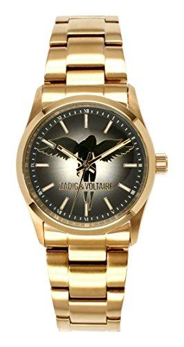 Zadig & Voltaire  - Reloj de cuarzo para mujer, correa de acero inoxidable color dorado