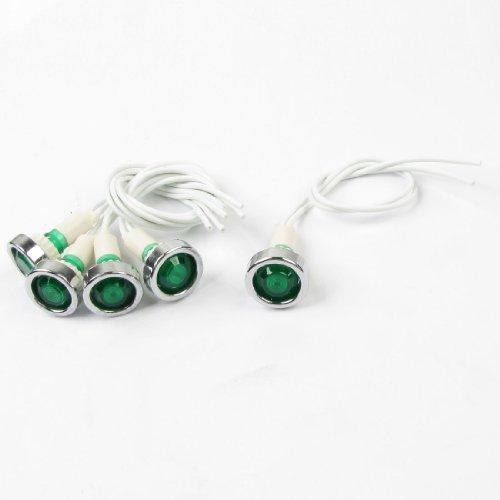 """5 Pcs 220V 7.9"""" Long Cable Green Bulb Power Indicator Dash Pilot Light"""