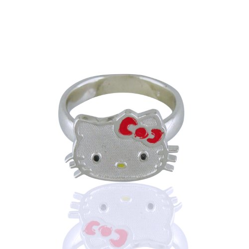 Hello Kitty Sterling Silver Red Enamel Ring. Size 4
