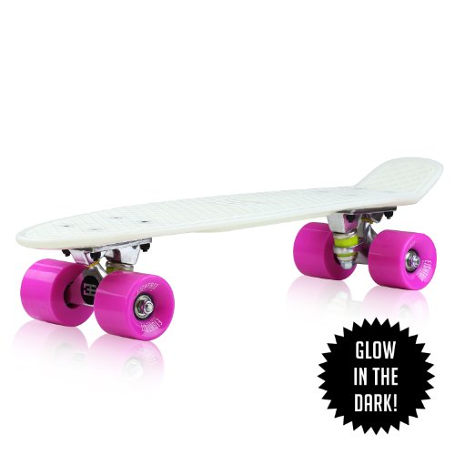 "Review 22"" EightBit Banana Skate Board - Retro Skateboard Glow-in-the-Dark - Kryptonite/ Punch"