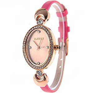 (ILEWAY) ABL-8805 Elegant Genuine Leather Quartz Analog Watches Wrist Watches Timepieces with Rhinestones f Female - Rose red SWWM1-224789