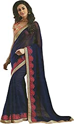 Priyam Creation New Designer Navy Blue color Georgette fancy Party Wear Saree With Blouse Piece.
