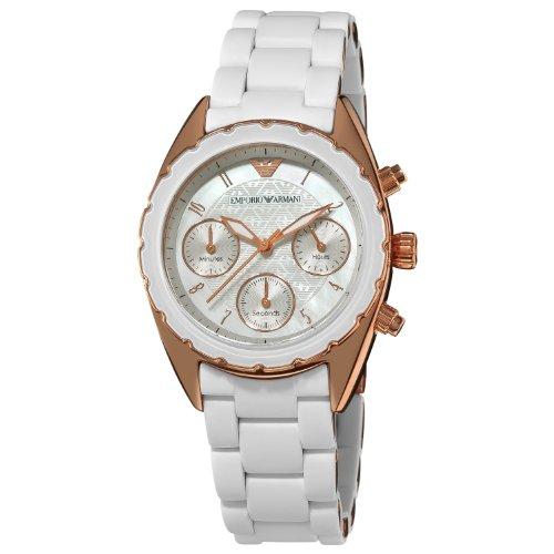 Emporio Armani AR5943 - Reloj para mujeres, correa de silicona color blanco