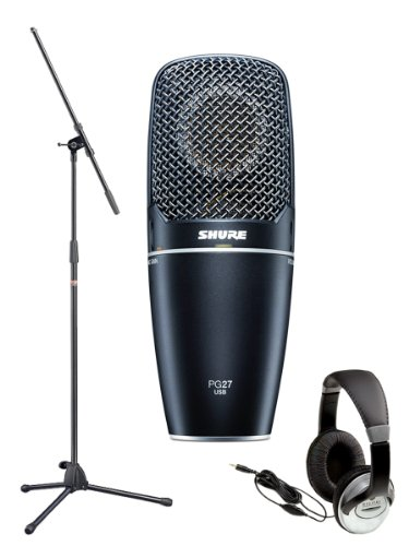 Shure PG27-USB Cardioid Condenser USB Microphone Bundle with Boom Mic Stand and Headphones