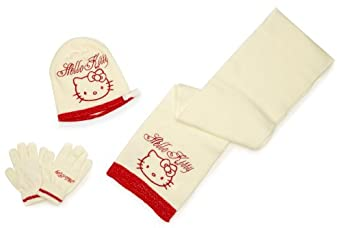 Hello Kitty Girl's Hat, Scarf and Glove Set White 52 cm: Amazon.co.uk: Clothing