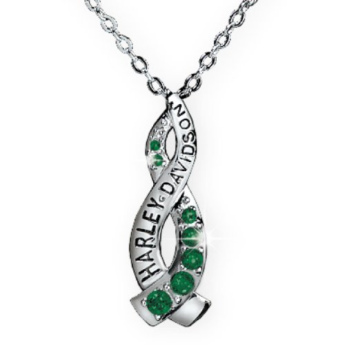 Sterling Silver Harley-Davidson Ladies Crossroads Necklace – May Faux Emerald