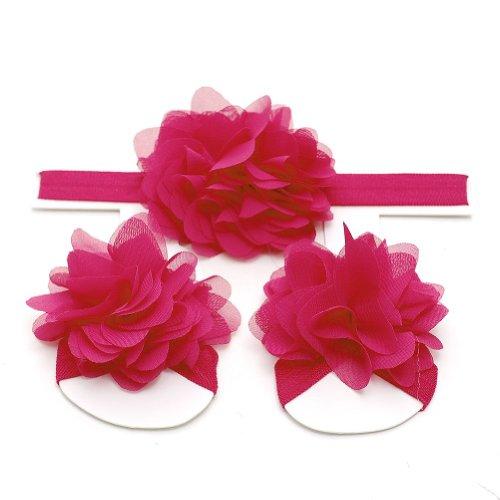 Reflectionz Hot Pink Headband Barefoot Sandals Baby Shower Gift Set front-945237