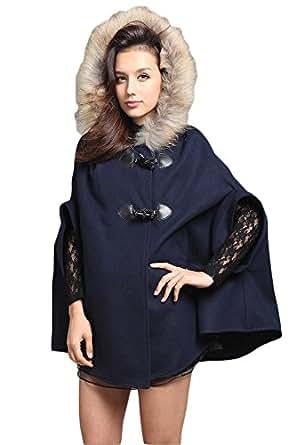 (シーワールドストア) Sea World Store レディース アウター コート ポンチョ風 ダッフルコート風 リボン 可愛い アパレル ファッション 服 Z2143-M-BL