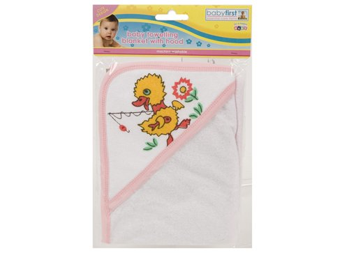 Brand new Baby Hooded Bath Towel Cuddle Dry Towel Pink & White