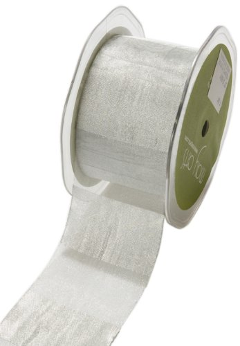 May Arts 2-Inch Wide Ribbon, Silver Sheer Stripes