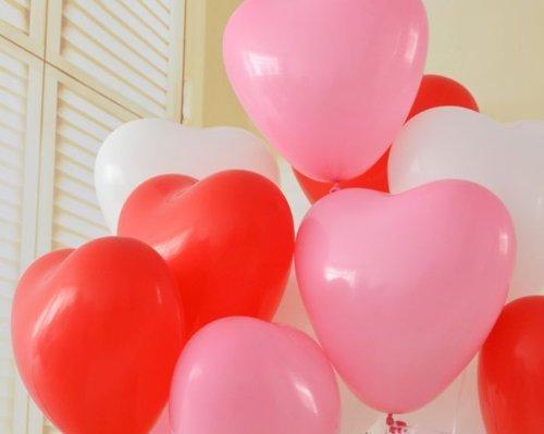 ハート 型 バルーン 風船 3色 ( 赤 ピンク 白 ) 100個 空気入れ Tick Nick オリジナル メッセージカード 3点 セット / 結婚式 2次会 パーティー イベント に必須アイテム!