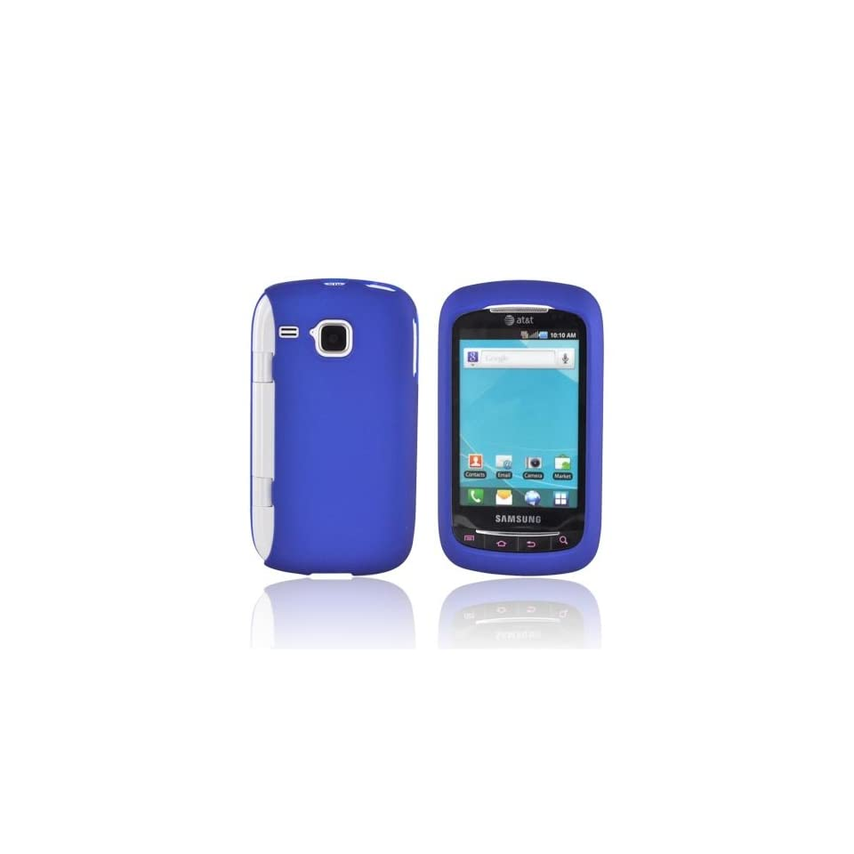 For Samsung DoubleTime Blue Rubberized Hard Plastic Shell Case Snap On Cover